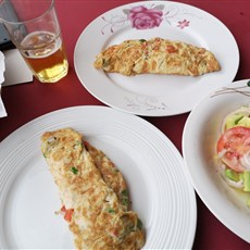 Omelette and salad, Foumban