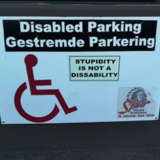 Parking sign outside Bothaville Spur