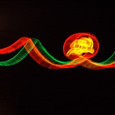 Leaving Phat Diem - hammer and sickle Xmas lights